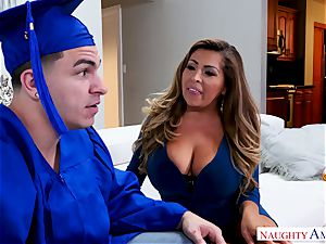 Latina bombshell seduces her son's pal