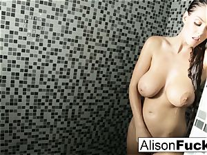 Alison showers and plays with her tight muff