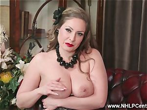 natural enormous globes brown-haired Sophia Delane strokes in nylons