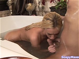innate blonde Victoria white smoothers herself in soap