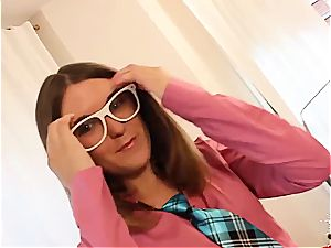 super-naughty teenage in glasses wants her Spanish honeypot pummeled