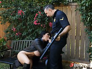 buxom flasher Romi Rain rides strung up police officer