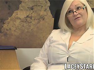 LACEYSTARR - GILF slurps Pascal white jism after fucky-fucky