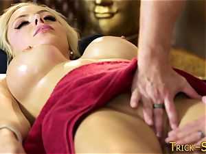 huge-titted honey pounds masseur