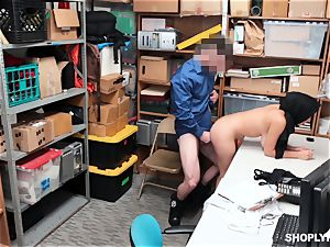 Ella Knox gets caught shoplifting and pays her debt with her mouth and vagina