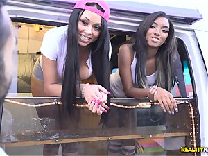 Raven Wylde and Bethany Benz facial in ice fluid truck get gash pounded