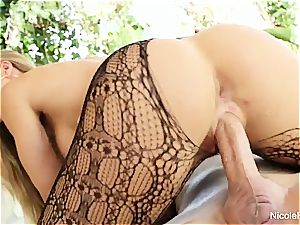 Nicole demonstrates off her warm assets then gets a excellent plowing