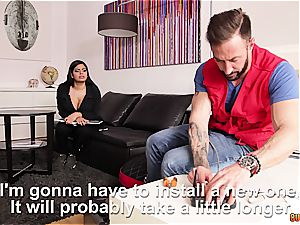 bodacious latina with phat natural mammories hard-core humped by the handyman