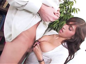 promiscuous black-haired April ONeil getting her pussy cracked by a monster bone
