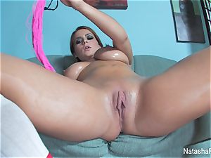 huge-chested Natasha lubricates up her fun bags and plays with her cooch