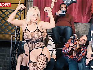 big-boobed platinum-blonde gets gonzo pounding in restrain bondage party