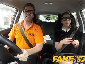 faux Driving college black haired euro stunner with Glasses