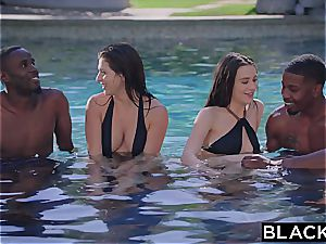 multiracial gang orgy with Leah Gotti and Lana Rhoades