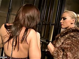 Kathia Nobili in fur covered jacket tantalizing a molten stunner
