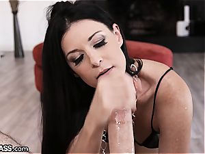 stellar India Summer makes that thick device dissolve in her facehole