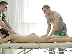 Taissa Shanti rubbed and ravaged by 2 dudes