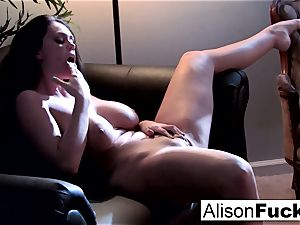 Alison gets out of her purple undergarments