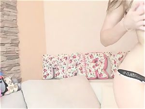 hot super-cute honey takes off and wank on cam