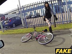 fake Cop scorching cyclist with enormous knockers and succulent booty