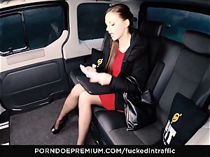 plumbed IN TRAFFIC Tina Kay footjob in the backseat