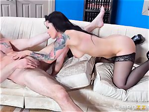 horny Katrina Jade juggling on a fat manstick