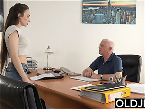 lady humped by aged fellow Office deep-throat oral job