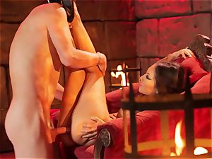 Asa Akira gets her super-steamy lips lush a immense long beef whistle