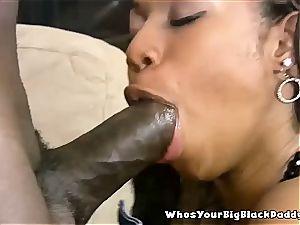 dark-hued beauty pleasure Bunny takes cum in her muff