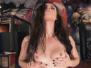 Boxing stunner Casey Calvert stroking in the boxing club