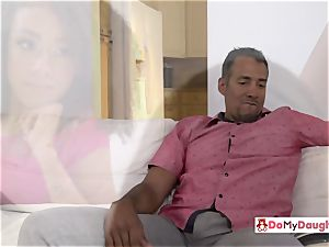 Shae and Ariana are seduced by each others horny step-father
