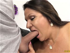 elder brunette Takes a beef whistle in Her mouth and gash