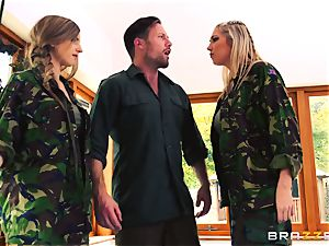 Army honies Lexi Lowe and Stella Cox get a dual helping of manstick