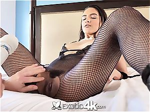 Latina Adrian Hush gets bound onto the bed in nothing but a fishnet