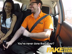 fake Driving college dark-hued american minx Kira Noir