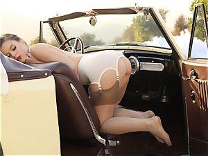 Lana Rhoades antique car cooch play