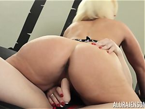 Alura Jenson pussy crammed with belt dick strenuous muscular gal Brandi May