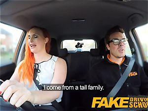 faux Driving school tatted redhead covets a huge bone