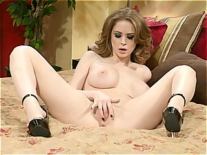 abnormal bombshell Emily Addison touches her humid fuckbox to heavenly climaxes