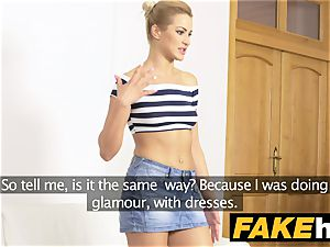 fake Agent Tall thin softcore model in perspiring audition