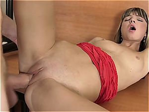 Doris Ivy cock-squeezing snatch stretched by fat pink cigar