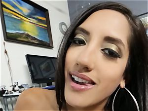 Office hotty Chloe Amour fellates and smashes point of view