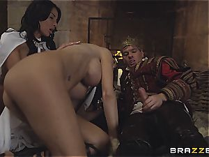 Alluring Anissa Kate and Jasmine Jae conform the king's will and stiffy